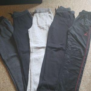 4 sweatpants & 1 pair basketball pants